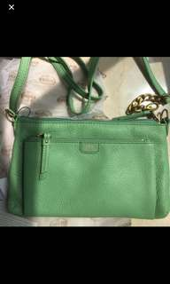 Authentic Fossil Green Apple Color Leather Cross Body Handbag 👜