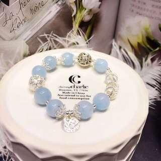 天然海藍寶 s925銀蓮花園牌手鏈