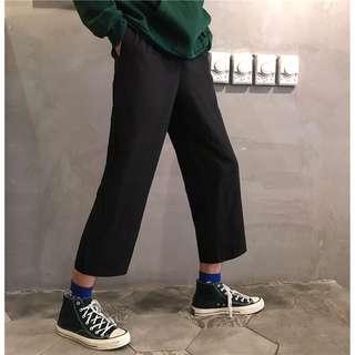 原宿風純色休閒闊腿九分寬褲