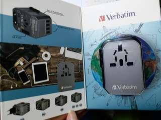 全新太空灰Verbatim 5 Ports 旅行充電器Travel Adaptor,跟單,原裝行貨1年保養