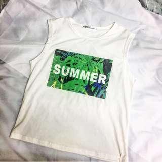 🚚 無袖印花白色T恤
