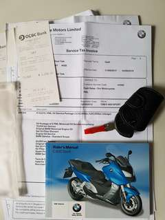 BMW C600 SPORT SCOOTER PML SERVICES RECORD
