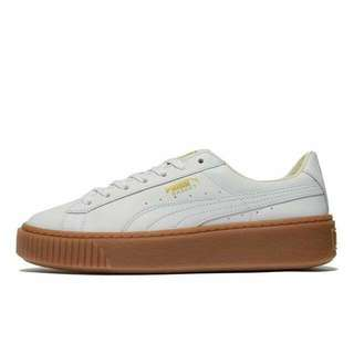 🚚 女 PUMA Basket Platform Leather  米色