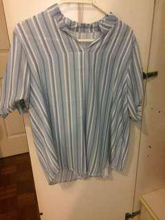 Stripe Top Blue White Ladies Casual