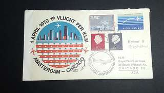 1970 First Flight Cover KLM Amsterdam to Chicago route