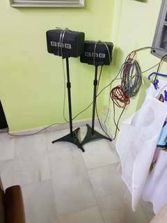 PROMOSI , THIS WEEK ONLY . $80 nett with stands pair //  BMB CS-M12V  WITH STAND   SURROUND SPEAKER