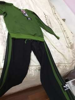 Green and orange Addidas top and pant