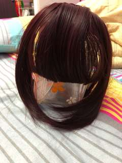 Wine Red Hairband Wig Bangs with Double Braided