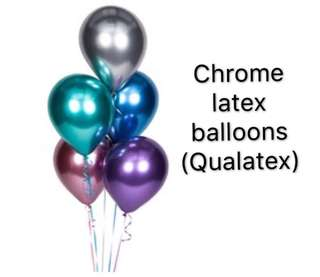 (12/6) Helium Chrome Latex Balloons (Qualatex Brand Solid Vibrant colour )