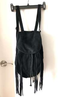 Black Suede Fringe Backpack