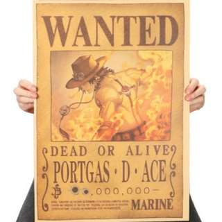 🚚 Premium Vintage Style One Piece| Ace Wanted Poster