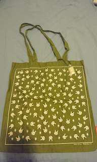 兔仔綠色單肩布袋(日本買)