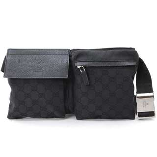 GUCCI腰包 GUCCI GG Canvas Waist Bag Body Bag Canvas Black