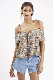 Topshop Lattice Front Floral Bardot Top