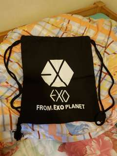 包郵exo布袋索繩袋背包