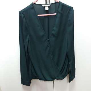 MMG emerald green sheer blouse