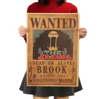 🚚 Premium vintage style One Piece Brook Wanted Poster