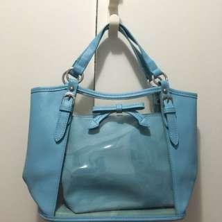Leather bag blue 袋中袋