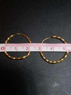 9999 gold earrings 九九九九純金耳環 (2.43g)