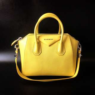 Preloved Givenchy Small Antigona Yellow Grained 2014 complete with strap, sample leather, booklet, & dustbag.
