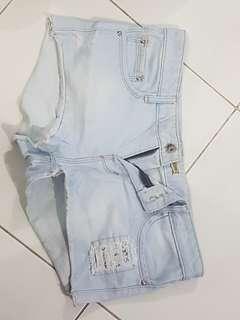 shorts celana pendek stradivarius original jeans ripped