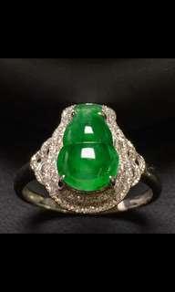 A玉翡翠18K金鑲嵌戒指