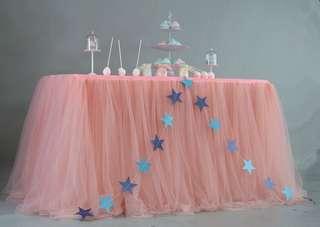 Tulle table skirting - Sakura Pink
