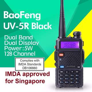 IMDA approved, limited stock!!! BaoFeng UV-5R UV5R Walkie Talkie Dual Band VHF/UHF 136-174Mhz & 400-480Mhz (BLACK)