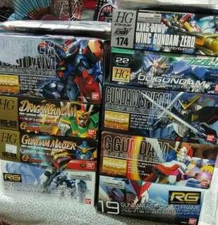 Gundam model kit hg,rg,mg