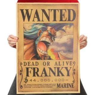 🚚 •	Premium Vintage Style One Piece| Franky Wanted Poster