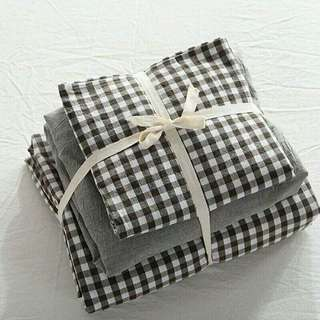 Checkered Gray Washed Cotton Quilt Cover Fitted Sheet Set