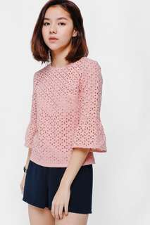 LoveBonito Esena Eyelet Bell Sleeve Top (Dusty Pink)