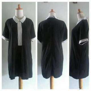 DRESS SSUNNY KOREA _ POLYESTER STRECTH HITAM KOMBINASI PUTIH FIT M TO L