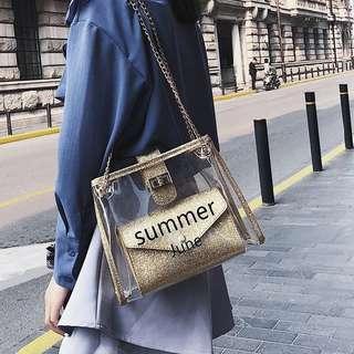 🚚 預購®️韓系夏季pvc防水透明包鍊條包子母包香檳金肩背包小方包