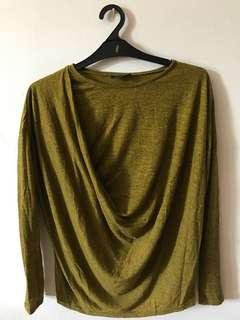 Topshop Olive Long Sleeve Top