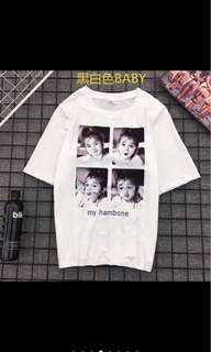 🚚 【全新】黑色baby白T
