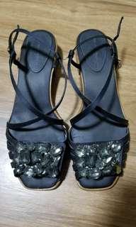Zara Navy Blue Bejeweled Kitten Heel Sandals
