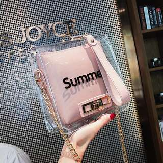 🚚 預購®️韓版夏季透明子母包防水包肩背包側背包中型包小方包鏈條包預購子母包