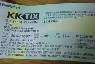 SBS演唱會門票S5區1129號