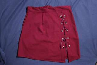 Criss-cross Maroon Skirt