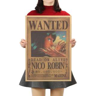 🚚 Premium Vintage Style One Piece| Nico Robin Wanted Poster