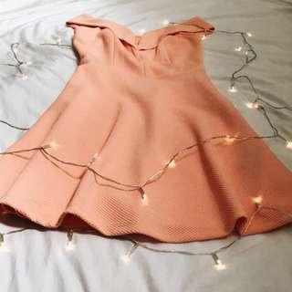 Coral Graduation Off-Shoulder Dress