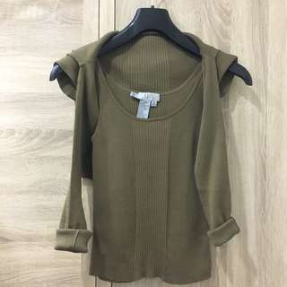 🚚 EQ:IQ OL氣質軍綠背心+小外套兩件式套裝