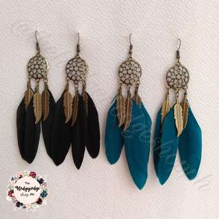 Vintage Dream Catcher Boho Feather Dangling Earrings