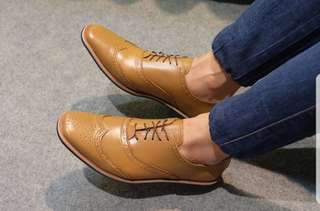 Genuine Leather Oxford Wingtip Shoes