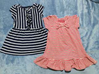 STRIPES BUNDLE: Red Guess & Blue Old Navy Dresses