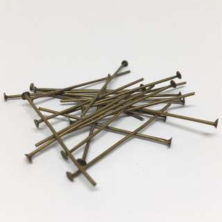 Antique Bronze Brass Ox Headpins 35mm 20pcs Jewellery Jewelry Findings Craft Supplies Accessories