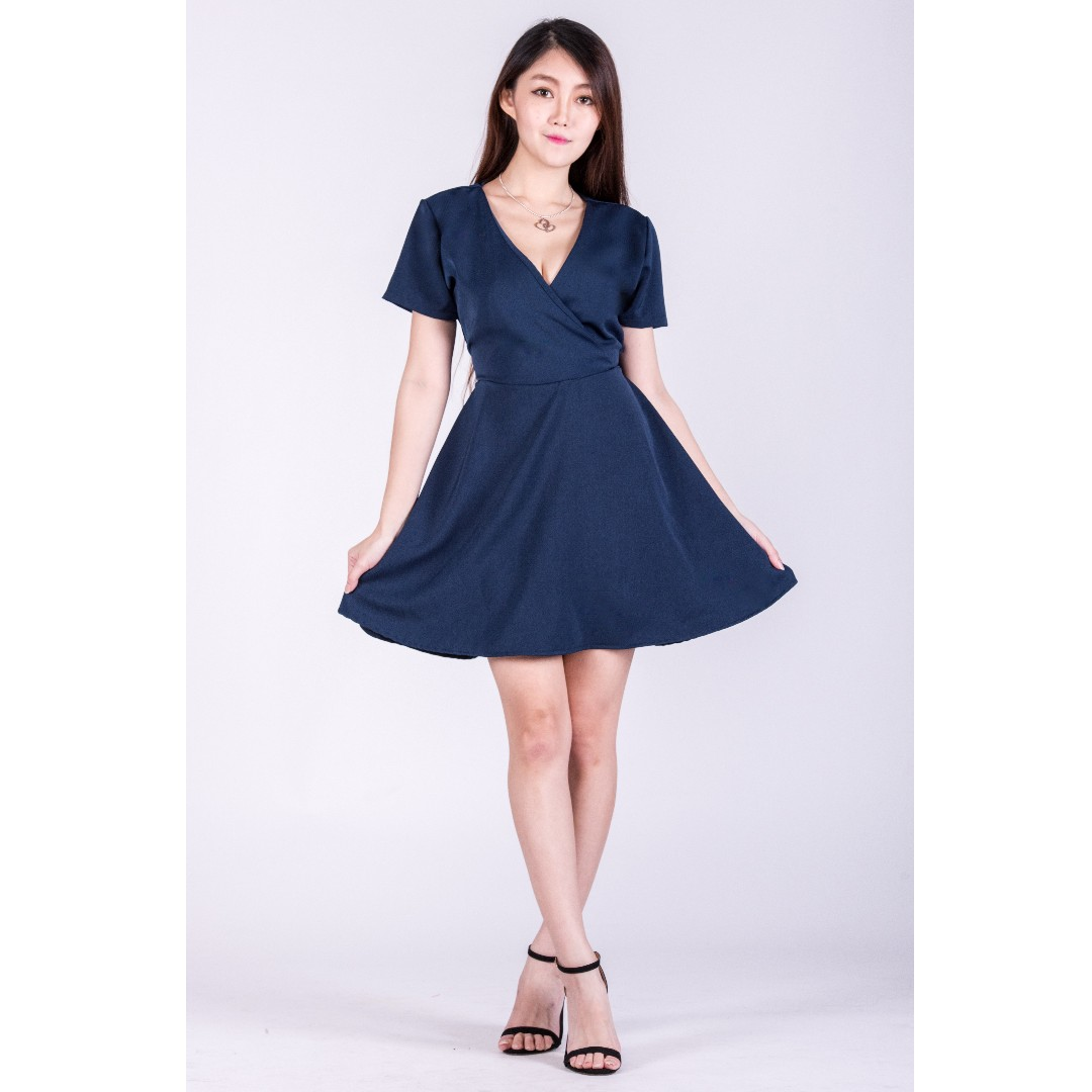 b0dd04adc2 💮 Cute-Cross Ribboned Wrap Dress in Navy Blue Nude Pink White ...