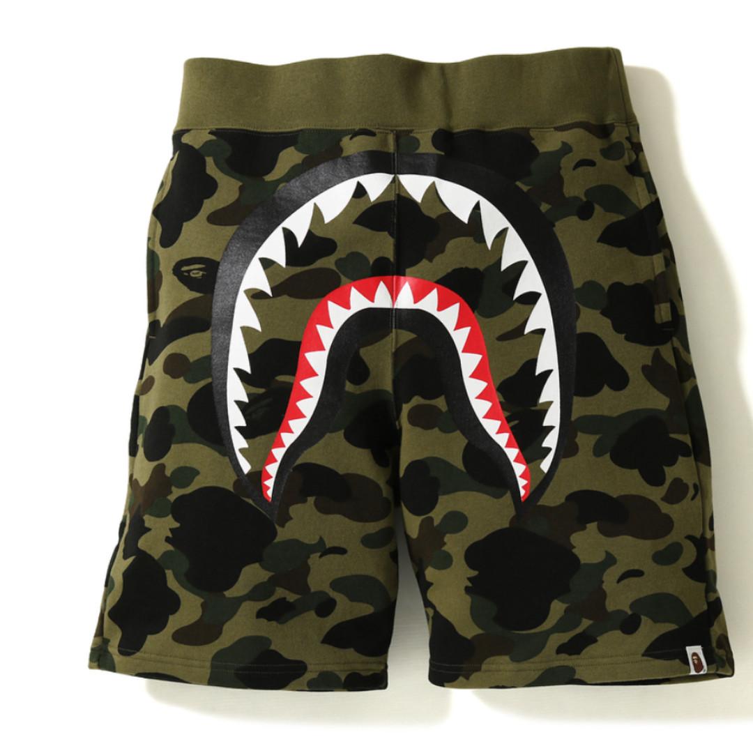 f13903ee6260 BAPE 1st Camo Shark Sweat Shorts