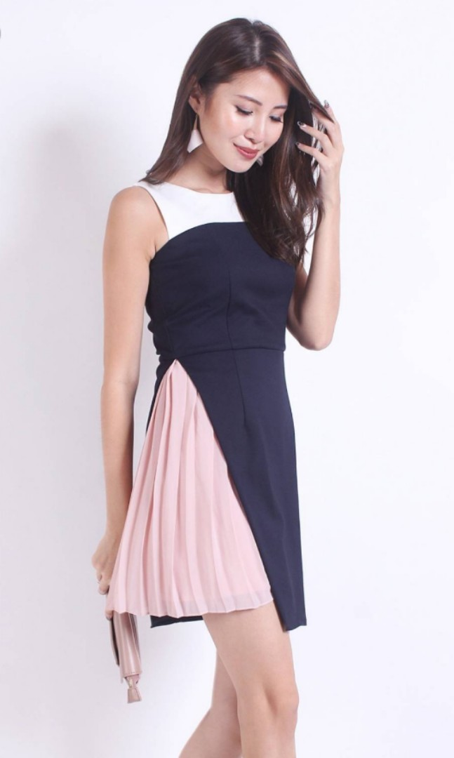 5cc71d9a28be8 BONELLI COLOURBLOCK SIDE PLEATS WORK DRESS IN NAVY BLUE/BLUSH ...